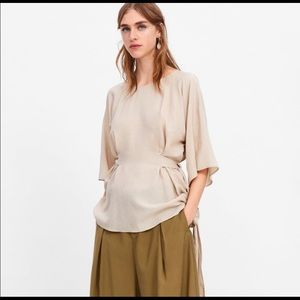 NWT Zara Tie-Waist Blouse